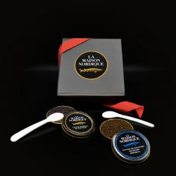 Coffret Saint-Valentin caviars Impérial de Sologne ouverts - La Maison Nordique