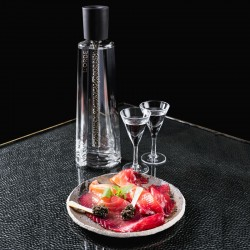 L'Orbe Vodka Caviar - bottle accompanied by a box of Imperial caviar from Sologne, and salmon La Maison Nordique
